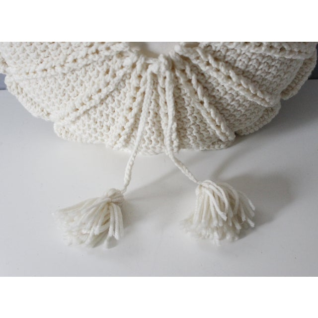 1970's Vintage Knit Macrame Tassled Round Pillow - Image 3 of 3