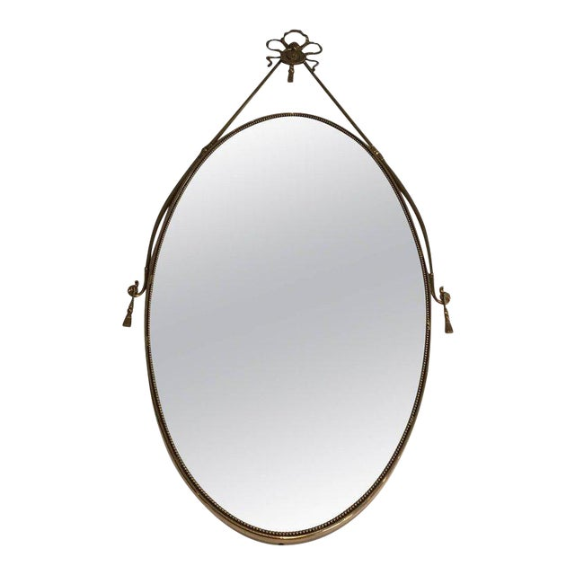 Neoclassical Brass Oval Mirror With a Ribbon Decoration - Image 1 of 11