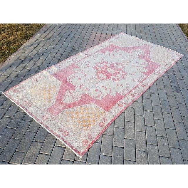 Vintage Large Pattern Rug for Home & Nursery Decor, Turkish Oushak Wool Rugs, Oriental Tribal Foyer Size Carpet 4'1'' X...