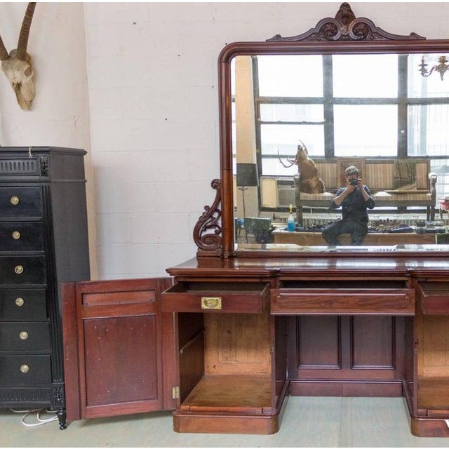 19th Century Antique Sideboard With Mirror For Sale - Image 4 of 11
