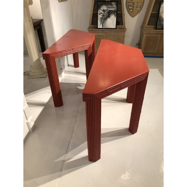 Chinese Red Bamboo Style Console Tables - a Pair For Sale - Image 12 of 13