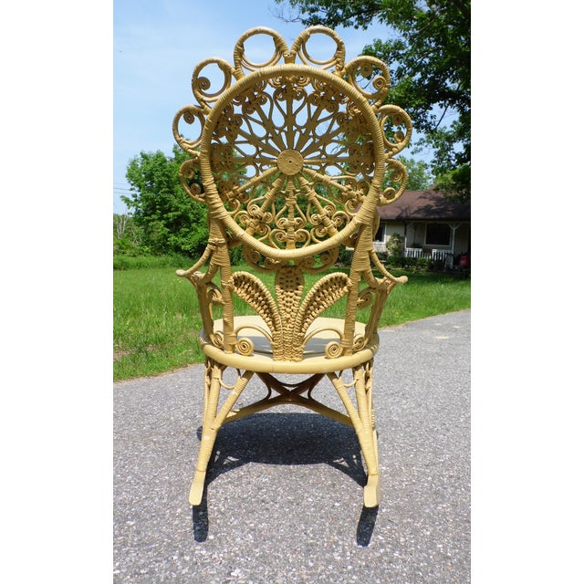 Antique Victorian Ornate Wicker Portrait Rocking Chair Rocker For Sale In Providence - Image 6 of 13
