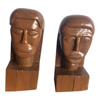 Vintage Modernist Hand Carved Wood Faces-A Pair For Sale