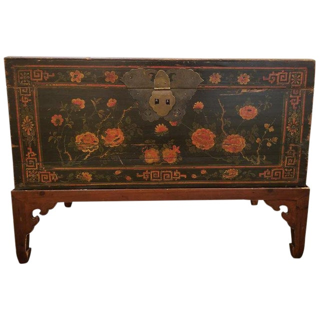 Chinese Trunk on Stand For Sale