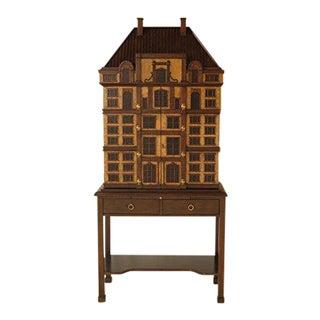 Maitland Smith #5130-663 House Motif Mahogany Lighted Bar Cabinet