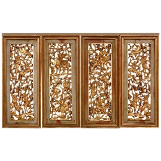 Chinese High Relief Carved Figural Gilt Panels For Sale