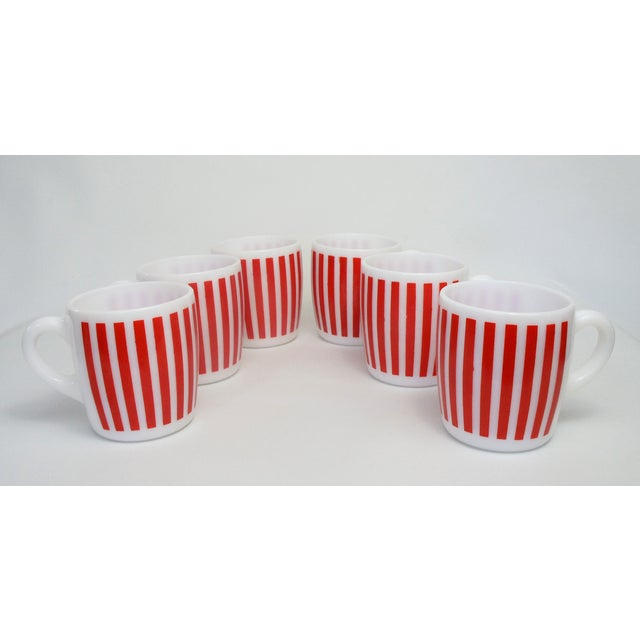 Hazel Atlas Red Striped Milk Glass Mugs – Set of 6 - Image 2 of 5