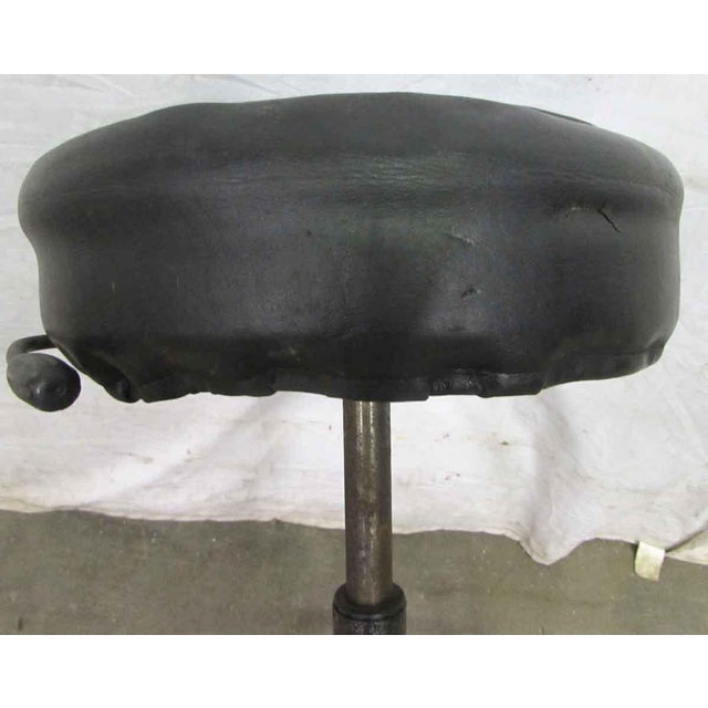 Metal Vintage Black Cushioned Adjustable Stool For Sale - Image 7 of 7