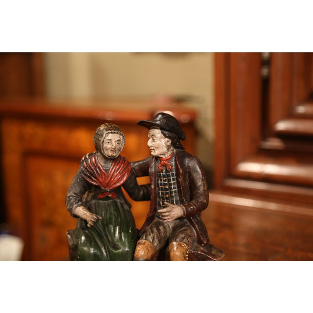 French 19th Century French Hand-Painted Ceramic Sculpture of Old Couple For Sale - Image 3 of 9