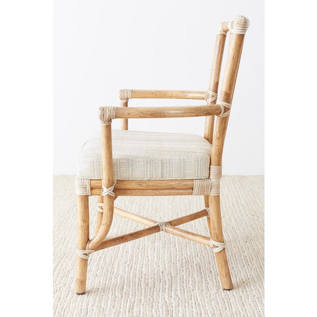 Pair of McGuire Organic Modern Bamboo Rattan Armchairs For Sale - Image 9 of 13