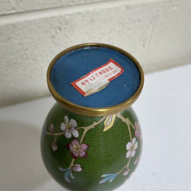 Green Vintage Cloisonné Vase For Sale - Image 8 of 11