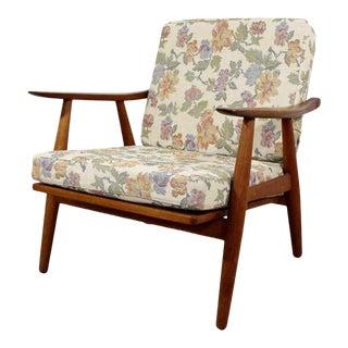 Mid Century Modern Hans Wegner Ge-270 Danish Teak Lounge Armchair 1950s For Sale