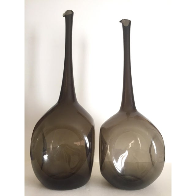 Boho Chic Vintage Mid Century Modern Rare Zeller Art Glass Charcoal Smoke Gray Monumental XL Hand Blown Floor Bottle Dimple Vases - a Pair For Sale - Image 3 of 13