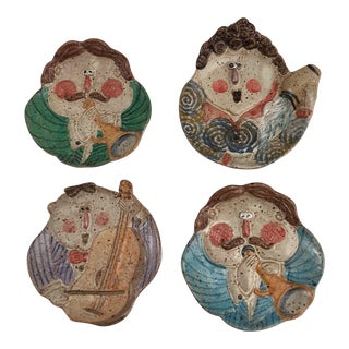 Vintage Italian Hand Painted Terra Cotta Face W/ Musical Instruments Wall Plaques - Set of 4 For Sale