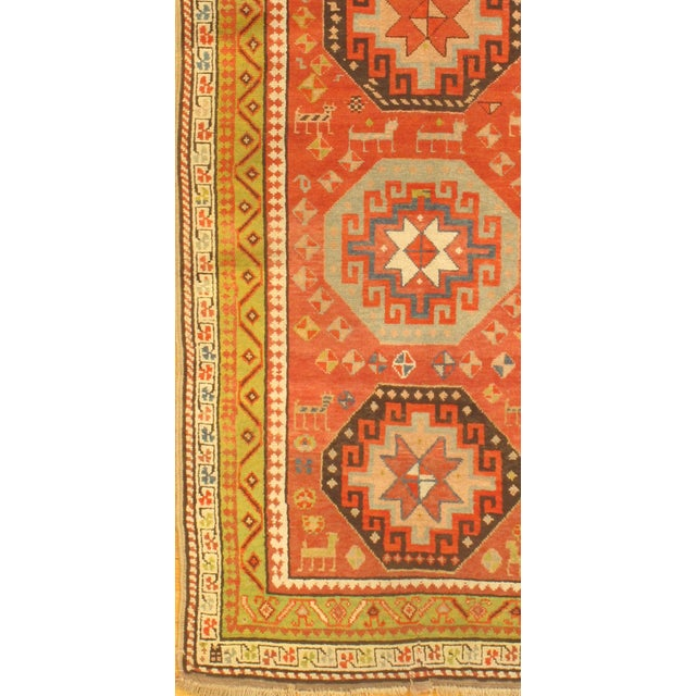 Antique Russian Kazak Design Rug. Hand knotted 100% hand-spun lamb's wool rug with all natural dyes. Lamb's wool on a...