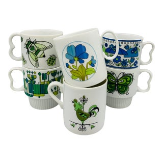 1960s Mismatched Vintage Ceramic Mugs - Set of 6 For Sale