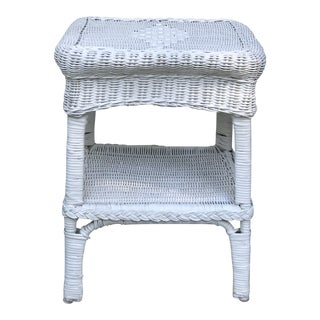 Vintage White Wicker Side Table For Sale