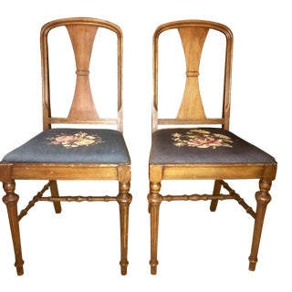 Antique Mid-Century Oak Side Chairs - A Pair