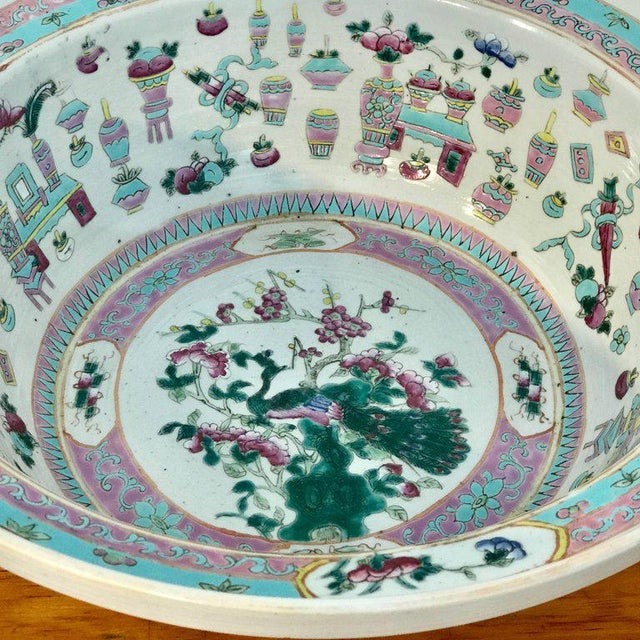 Asian Large Qing Dynasty Famille Verte Peacock and Vase Motif Bowl For Sale - Image 3 of 13