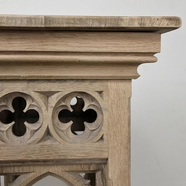Wood Pair 19th Century Gothic Stripped Oak Pedestals For Sale - Image 7 of 11