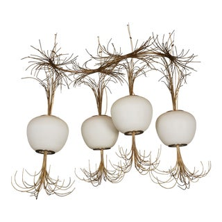 Roberto Giulio Rida a Unique and Original Sculptural Opaline Glass and Brass Ceiling Light Fixture