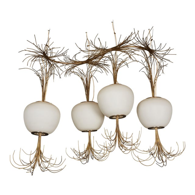 Roberto Giulio Rida a Unique and Original Sculptural Opaline Glass and Brass Ceiling Light Fixture For Sale