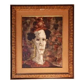 """1960s Vintage Jules Duffart """"Pierrot"""" Painting For Sale"""