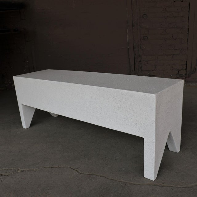 Not Yet Made - Made To Order Cast Resin 'Farm' Bench, White Stone Finish by Zachary A. Design For Sale - Image 5 of 8