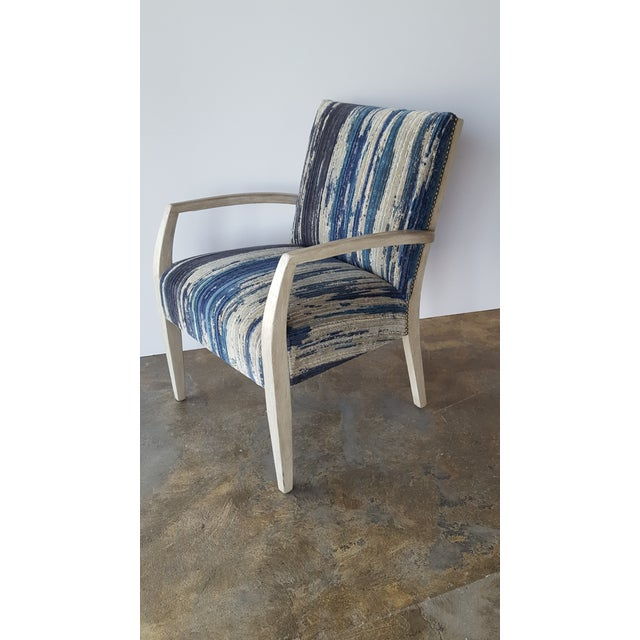 Totally restored early mid-century occasional - lounge chair with new Pollack upholstery, satin nickel nail heads and...