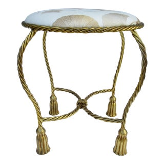 Vintage Hollywood Regency Gilt Tassel Rope Vanity Stool For Sale