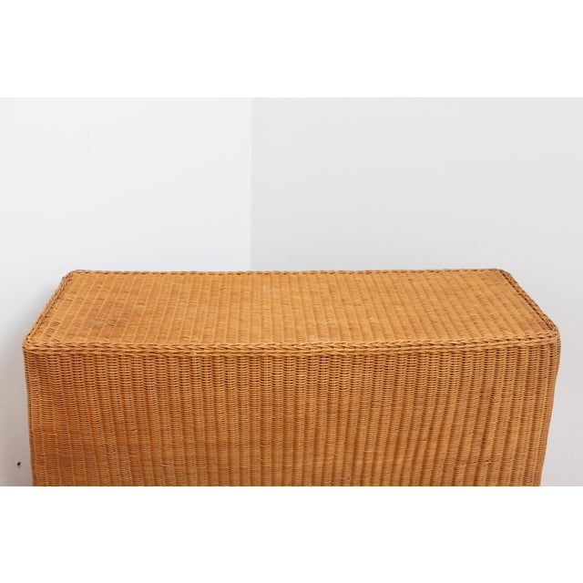 Tan Vintage Trompe l'Oeil Wicker Draped Console Table For Sale - Image 8 of 11