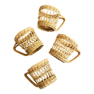 Vintage Wicker Drink Cozies - Set of 4 For Sale