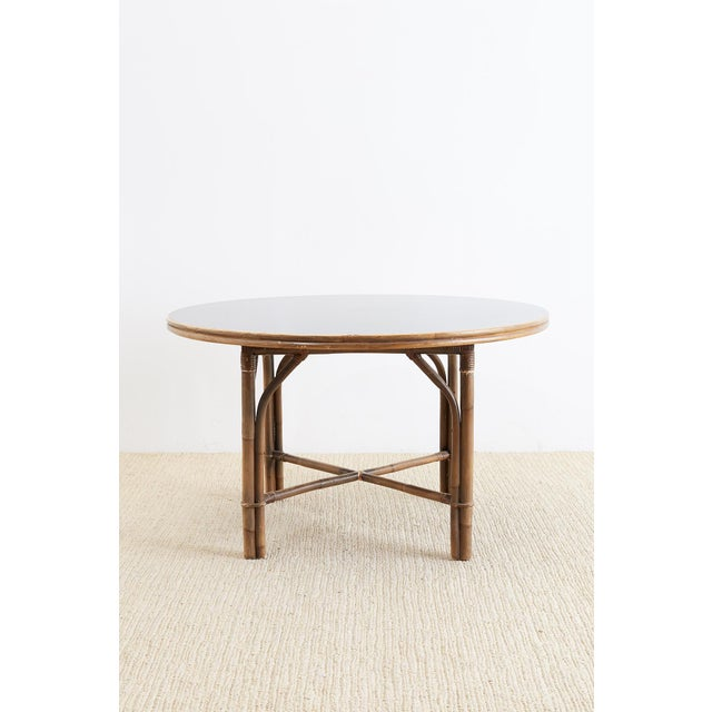 Mid-Century Modern Ficks Reed Midcentury Rattan Dining Table For Sale - Image 3 of 13