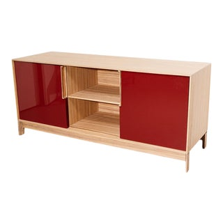 Zebrawood and Lacquer Credenza by Cecchini For Sale