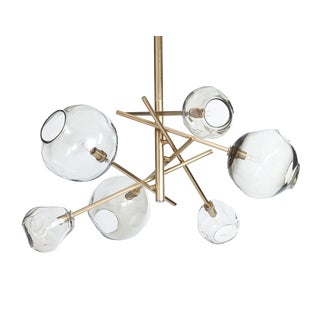 Regina Andrew Modern Brass Finished and Smoked Glass Molten Chandelier For Sale