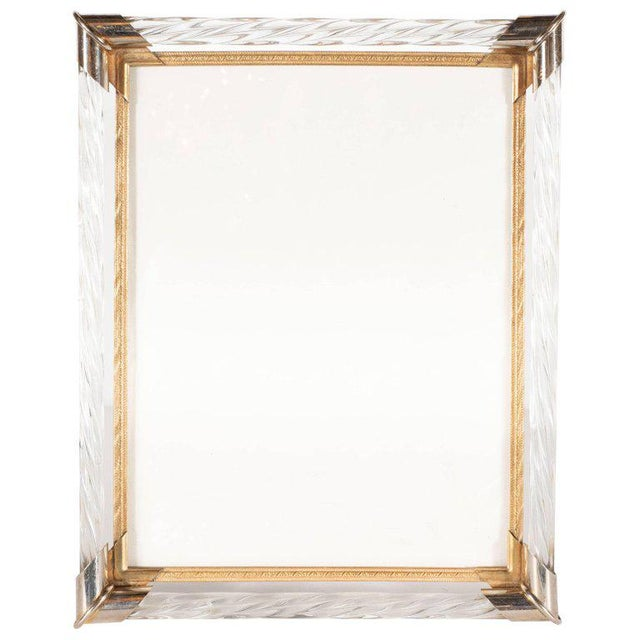 1950s Mid-Century Modern Braided Murano Glass, Chrome & Filigreed Brass Picture Frame For Sale - Image 5 of 6