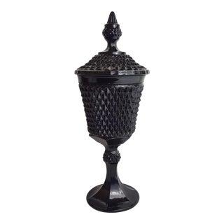 Black Diamond Point Indiana Glass Apothocary Jar