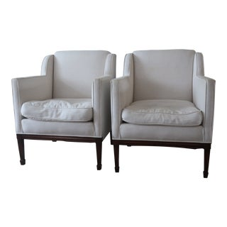 1940s Vintage French Down Club Chairs - a Pair For Sale