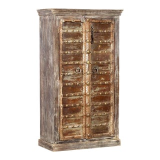 Rustic Gray Armoire With Metal Reclaimed Doors For Sale