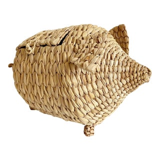 1970s Wicker Pig Basket For Sale