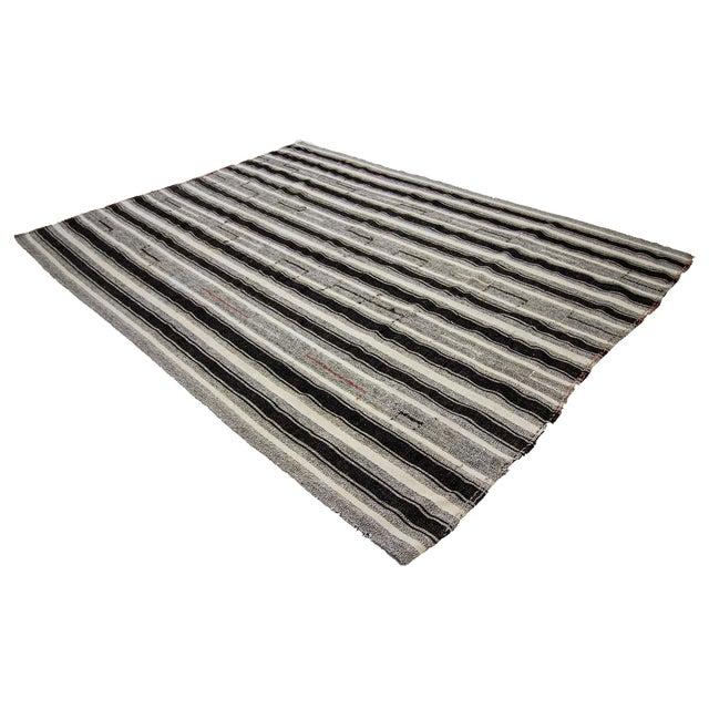 Vintage Black & Gray Striped Kilim Rug- 8′ × 10′2″ For Sale - Image 4 of 7