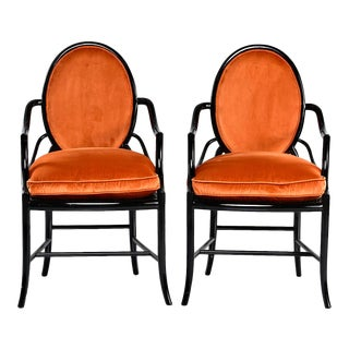 Pair Mid Century Ebonised Bentwood Armchairs With New Orange Velvet Upholstery For Sale