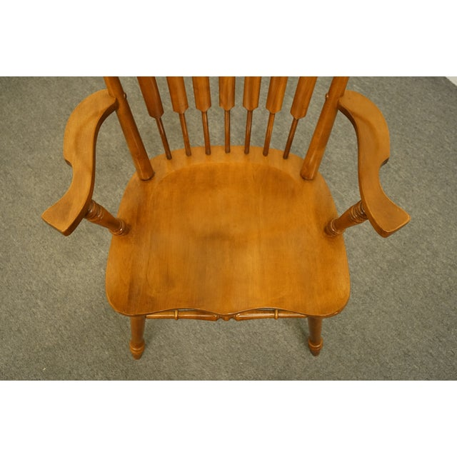 Late 20th Century Tell City Maple Colonial Cattail Back Arm Chair For Sale - Image 5 of 9