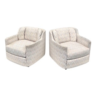 Retro Modern Rolling Club Chairs- a Pair For Sale