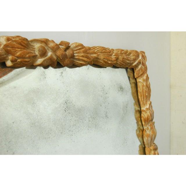 Monumental Hand-Carved Laurel Leaf Wood Mirror - Image 3 of 6