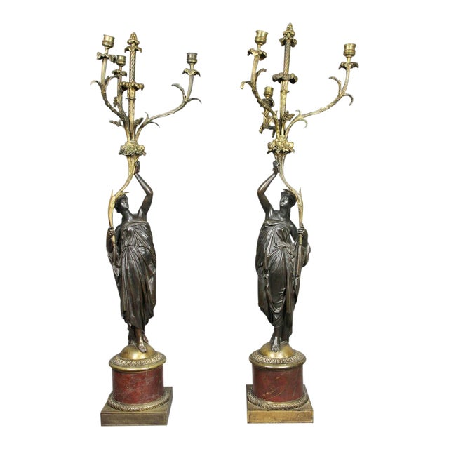 Pair of Louis XVI Bronze and Ormolu Candelabra For Sale