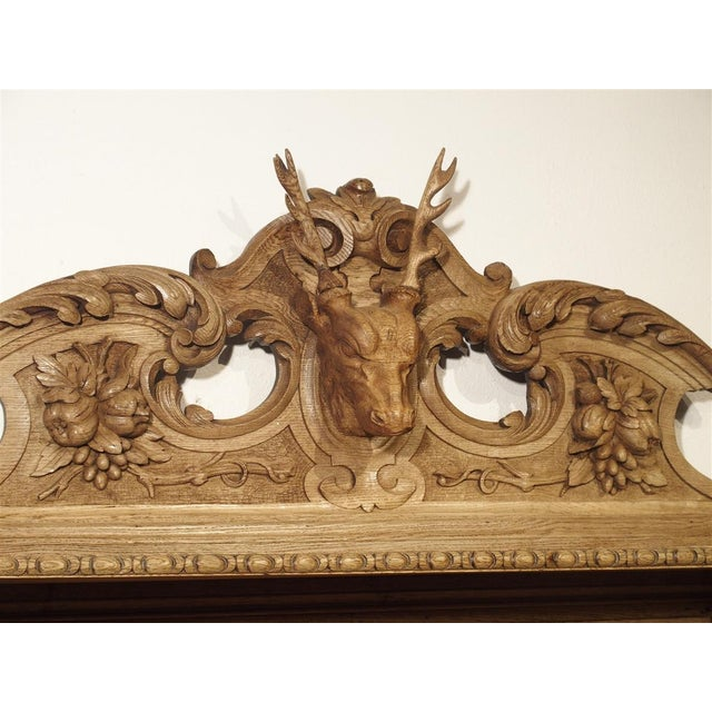 """Richly Carved French Hunt Buffet """"St. Hubert"""" in Blonde Oak, Circa 1890 For Sale - Image 10 of 13"""