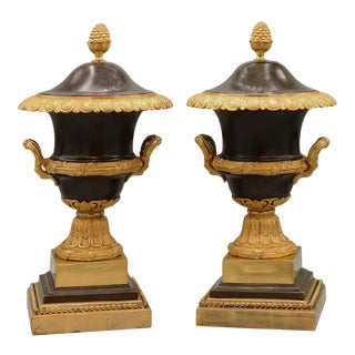 Pair of Bronze and Ormolu Urns and Covers For Sale