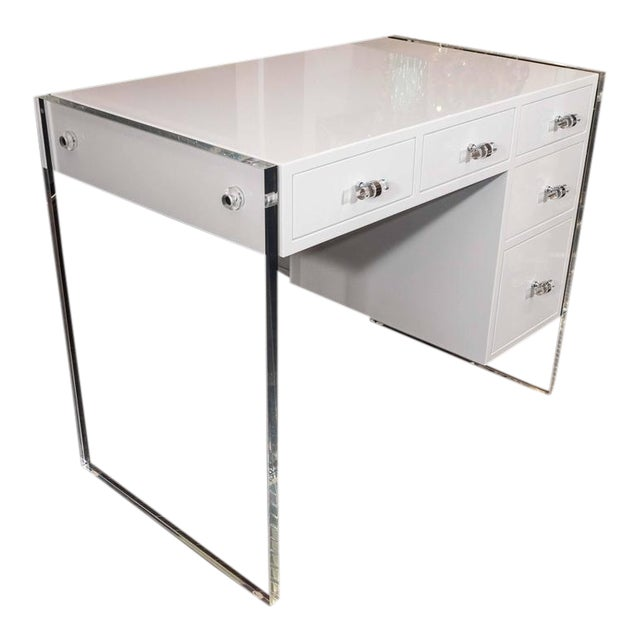 White High Gloss Lacquer Desk with Lucite Side Panels For Sale