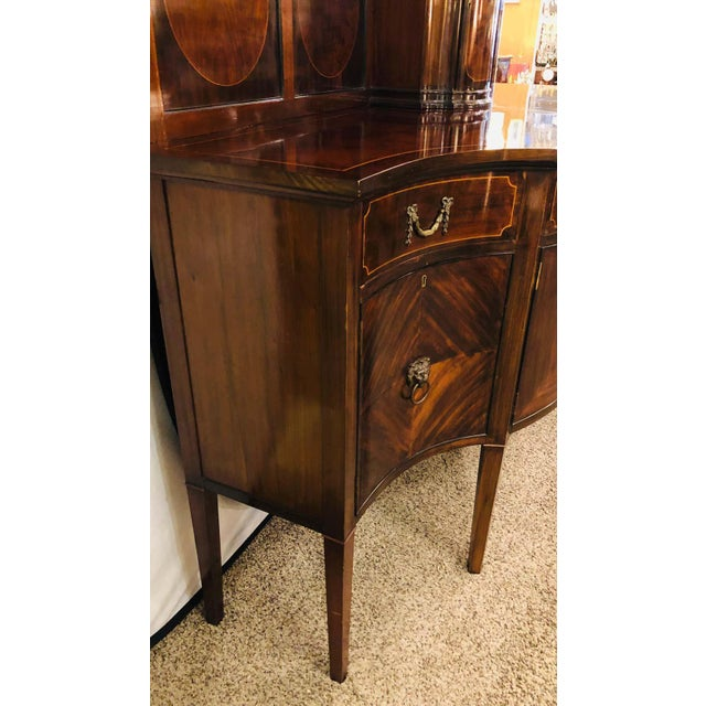 Sheraton Flame Mahogany 19th Century Sideboard Buffet With Inlaid Backsplash Top For Sale - Image 11 of 13